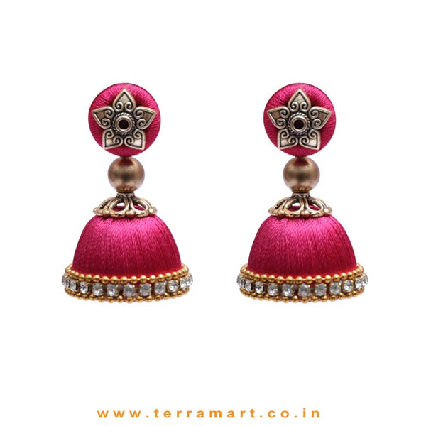Pleasant Full Pink Coloured Silk Thread Jumka Set With Stone - Terramart Jewellery