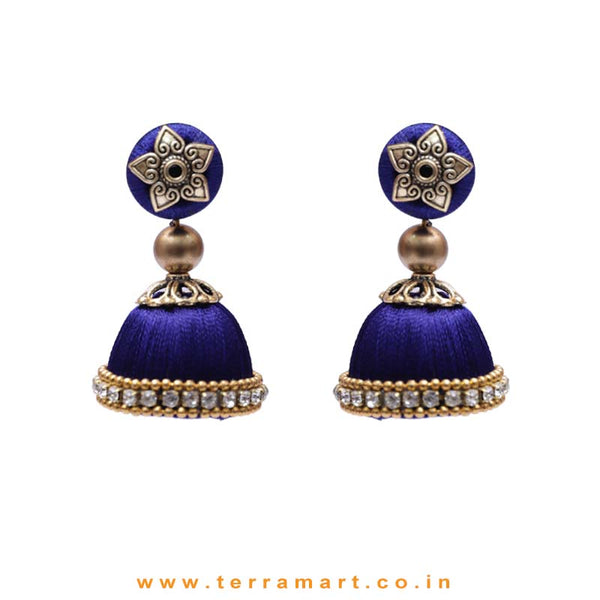 Pleasant Full Navyblue Coloured Silk Thread Jumka Set With Stone - Terramart Jewellery