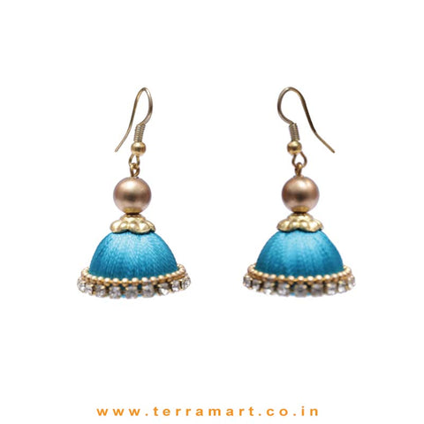 Cute Small Peacock Blue Coloured Silk Thread Hook Jumka With Stone - Terramart Jewellery