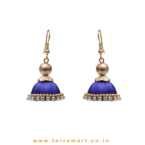 Cute Small Ink Blue Coloured Silk Thread Hook Jumka With Stone - Terramart Jewellery