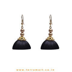 Elegant Black Colour Hook Silk Jumka Set With Beads  - Terramart Jewellery