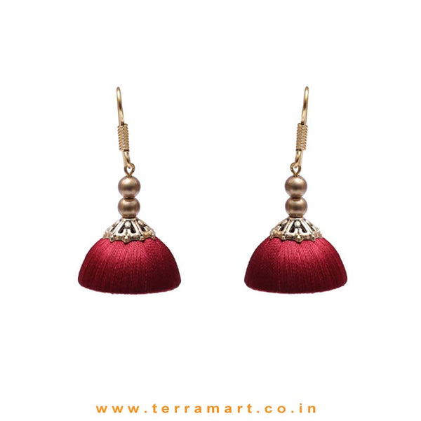 Elegant Maroon Colour Hook Silk Jumka Set With Beads  - Terramart Jewellery