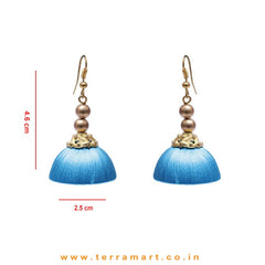 Elegant Sky Blue Colour Hook Silk Jumka Set With Beads  - Terramart Jewellery