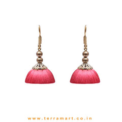 Elegant Tomato Pink Colour Hook Silk Jumka Set With Beads  - Terramart Jewellery