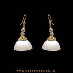 Elegant White Colour Hook Silk Jumka Set With Beads  - Terramart Jewellery