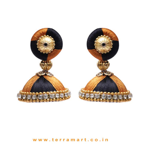 Fancy Brown & Black Double Colour Silk Thread Jumka Set With Stone - Terramart Jewellery