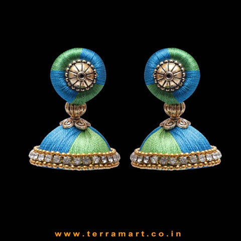 Parrot Green, Sky Blue Colour Combinated with White Stone Worked Silk Thread Studded Jumka