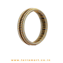 Checker Model Grey, Black & Gold Colour Silk Thread Bangle With Pearl - Terramart Jewellery