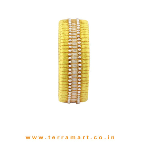 Checker Model Lemon Yellow, Sandal & Gold Colour Silk Thread Bangle With Pearl - Terramart Jewellery