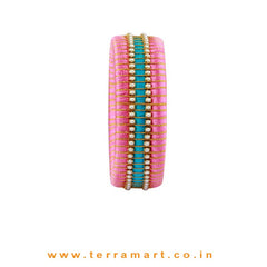 Checker Model Baby Pink, Sky Blue & Gold Colour Silk Thread Bangle With Pearl - Terramart Jewellery