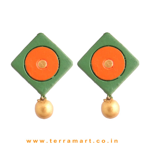 Sap Green, Orange & Gold colour Handmade Terracotta Earrings with terracotta beads - Terramart Jewellery