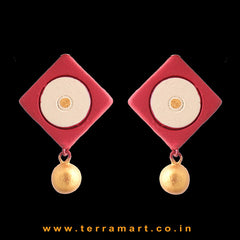 Maroon, Sandal & Gold colour Handmade Terracotta Earrings with terracotta beads - Terramart Jewellery