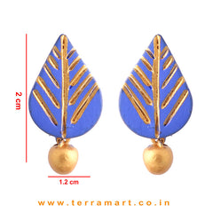 Leaf designed Navy Blue & Gold colour Handmade Terracotta Earrings - Terramart Jewellery