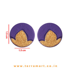 Gold & Violet colour Handmade Terracotta Studded Earrings - Terramart Jewellery