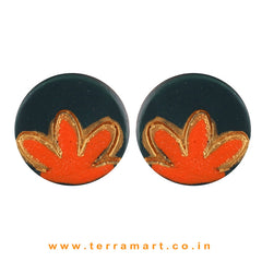 Gold, Dark Green & Orange colour Handmade Terracotta Studded Earrings