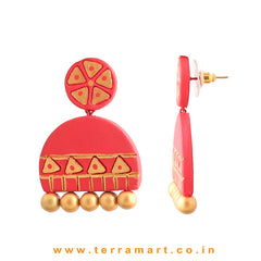 Grand Red & Gold colour Handmade Terracotta Earrings - Terramart Jewellery