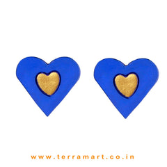 Beautiful Heart designed Navy Blue & Gold colour Handmade Terracotta Earrings - Terramart Jewellery