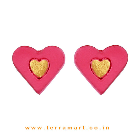 Beautiful Heart designed Pink & Gold colour Handmade Terracotta Earrings - Terramart Jewellery