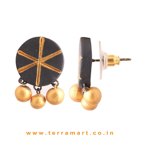 impressive Black & Gold colour Handmade Terracotta Earrings