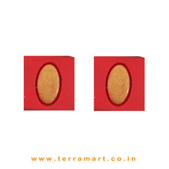 Tidy Red & Gold Colour Handmade Terracotta Earrings - Terramart Jewellery