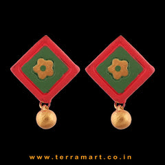 Artistic Red, SapGreen & Gold colour Handmade Terracotta Earrings - Terramart Jewellery