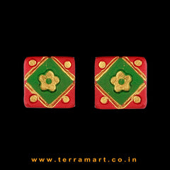 Rangoli designed Red, Sap Green & Gold colour Handmade Terracotta Earrings - Terramart Jewellery