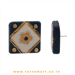 Rangoli designed Dark Green, Sandal  & Gold colour Handmade Terracotta Earrings - Terramart Jewellery