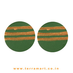 Sap Green & Gold Colour Painted best kind Handmade Terracotta Earrings