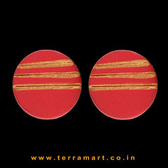 Red & Gold Colour Painted best kind Handmade Terracotta Earrings - Terramart Jewellery