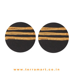 Black & Gold Colour Painted best kind Handmade Terracotta Earrings - Terramart Jewellery