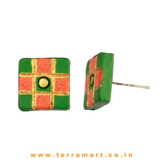 Sap Green, Orange & Gold colour Handmade Terracotta Earrings with Checks - Terramart Jewellery
