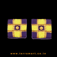 Violet, Yellow & Gold colour Handmade Terracotta Earrings with Checks - Terramart Jewellery