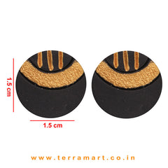 Gold & Black colour Painted Best Handmade Terracotta Earrings - Terramart Jewellery