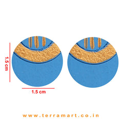 Gold & Skyblue colour Painted Best Handmade Terracotta Earrings - Terramart Jewellery