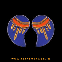 Fair Navy Blue, Orange & Gold colour Handmade Terracotta Earrings - Terramart Jewellery