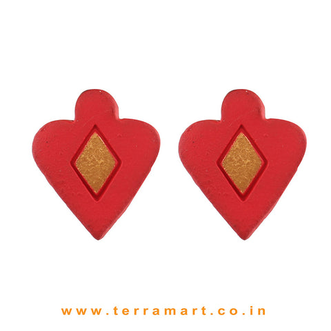 Trendy Red & Gold Colour Painted Handmade Terracotta Earrings - Terramart Jewellery