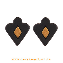 Trendy Black & Gold Colour Painted Handmade Terracotta Earrings - Terramart Jewellery