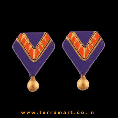 Violet, Orange & Gold Colour Painted Attracting Handmade Terracotta Earrings - Terramart Jewellery