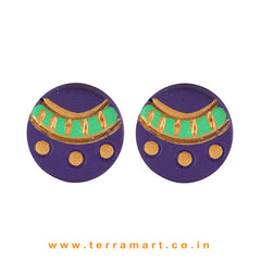 Fine Designed Violet, Parrot Green & Gold Colour Handmade Terracotta Earrings - Terramart Jewellery