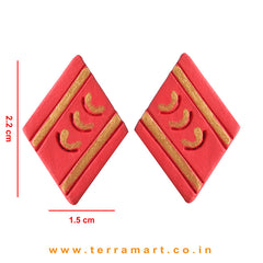 Red & Gold Colour Painted Stylish Handmade Terracotta Earrings