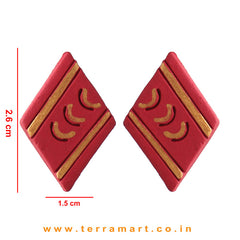 Maroon & Gold Colour Painted Stylish Handmade Terracotta Earrings - Terramart Jewellery