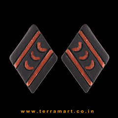 Black & Copper Colour Painted Stylish Handmade Terracotta Earrings - Terramart Jewellery