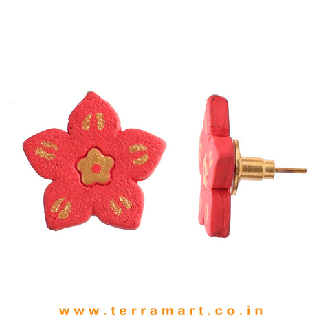 Flower designed  Red & Gold Colour Handmade Terracotta Earrings - Terramart Jewellery