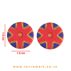 Creatively Painted Red, Navyblue & Gold Colour Handmade Terracotta Earrings - Terramart Jewellery