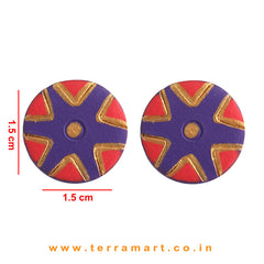 Creatively Painted Violet, Red & Gold Colour Handmade Terracotta Earrings - Terramart Jewellery