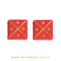 Fairly Designed Red & Gold Colour Handmade Terracotta Earrings - Terramart Jewellery