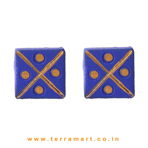 Fairly Designed Navyblue & Gold Colour Handmade Terracotta Earrings - Terramart Jewellery