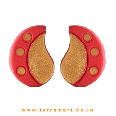 Neatly Painted Red & Gold Colour Handmade Terracotta Earrings - Terramart Jewellery