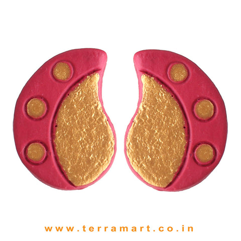 Neatly Painted Pink & Gold Colour Handmade Terracotta Earrings - Terramart Jewellery