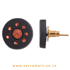 Black & Copper Colour Painted Cute Handmade Terracotta Earrings - Terramart Jewellery